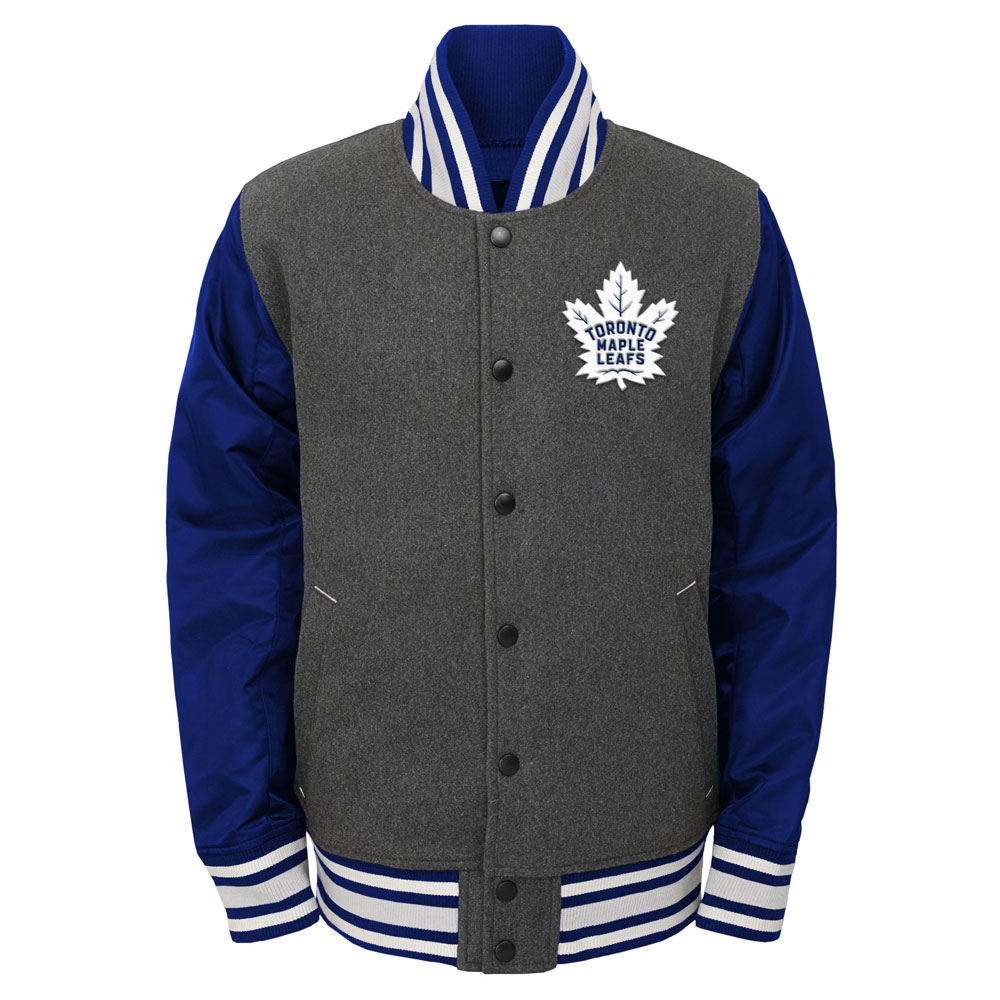 Toronto Maple Leafs Youth Letterman Full-Snap Varsity Jacket by Outerstuff